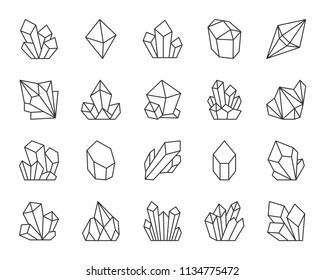 Jewel quartz crystal thin line icon set. Outline sign of treasure gem. Mineral linear icons includes ruby, sapphire topaz, emerald. Simple amethyst crystal symbol isolated. Diamond vector Illustration