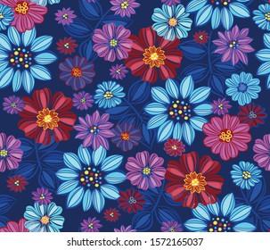 Jewel tones floral retro pattern, vintage flowers background