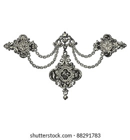 "Jewel - Vintage engraved illustration - ""La mode illustree"" by Firmin-Didot et Cie in 1882 France"