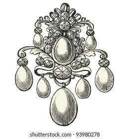 """Jewel -  vintage engraved illustration - """"L'industrie et l'art décoratif aux deux derniers siècles"""" ed. Firmin-Didot - Paris"""