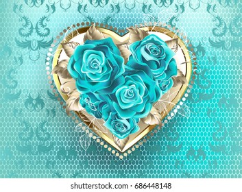 Jeweled heart of white gold, decorated with turquoise roses on turquoise, lace background.