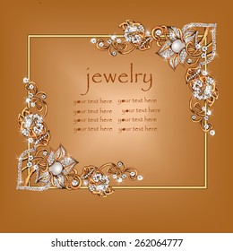 Jeweler decoration. Scope, framing. Necklace from gold with jewels