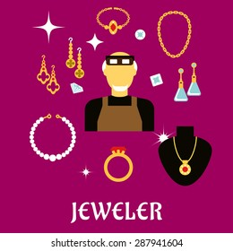 Jeweler or goldsmith profession concept design with man in professional glasses, luxury jewelries such as fancy earrings, ring and pendant with red gems, chain, bracelets, shining jewels