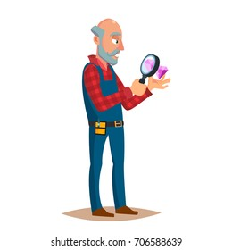 Jeweler, Goldsmith Profession Man Vector. Sapphire, Emerald, Gemstones. Appraiser Quality Check Process. Cartoon Character Illustration