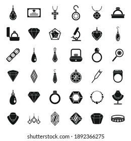 Jeweler icons set. Simple set of Jeweler vector icons for web design on white background