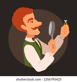 Jeweler in a vest and a bowtie, with a mustache. Appraiser looks at the ring with a glossy jewel through a magnifying glass, smiling. Vector cartoon flat style illustration on a dark background.