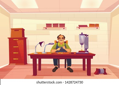 Jeweler working in workshop, goldsmith, jewelry repair shop interior with boxes on shelves, drilling machine tool, gems, magnifying glass and lamp on desk, cartoon vector illustration