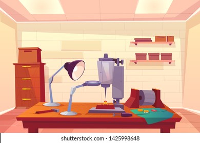 Jeweler workshop, jewelry repair shop cartoon vector interior with goldsmith workplace, boxes on shelves, cabinet, drilling machine tool, jewelry parts, magnifying glass and lamp on desk illustration