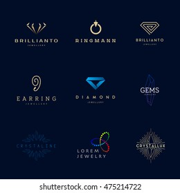 Jewellery company logos set. Jewelry icons set.