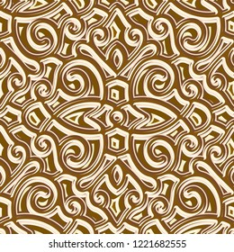 Jewellery gold seamless pattern, repeating tile, vintage golden background, vector ornamental brocade texture