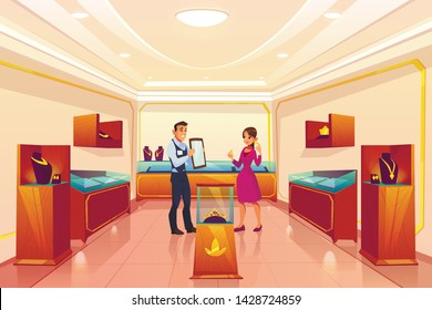 Jewellery store with seller and customer, woman buying earrings in luxury shop, trading room interior with precious necklaces on shelves, golden crown with red gems in hall Cartoon vector illustration