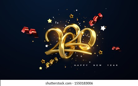 Jewelry 2020 numbers. Happy New 2020 Year. Holiday vector illustration of golden calligraphic characters, ribbons, stars and confetti . Realistic 3d sign. Festive poster or banner design.