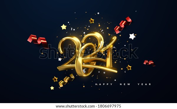 Jewelry 2021 numbers. Happy New 2021 Year. Holiday vector illustration of golden calligraphic characters, ribbons, stars and confetti . Realistic 3d sign. Festive poster or banner design.