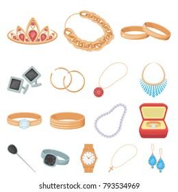 Jewelry and accessories cartoon icons in set collection for design.Decoration vector symbol stock web illustration.