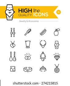 Jewelry and Accessories line icons series
