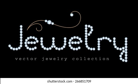 Jewelry banner with diamond jewelry letters and gold jewellery swirly decoration on black, vector illustration