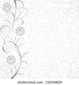 Jewelry border on white lace background. Invitation card