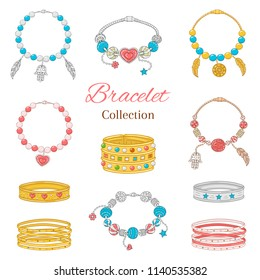 Jewelry collection, vector illustration. Women's  fashionable pandora bracelets collection, isolated on white background.