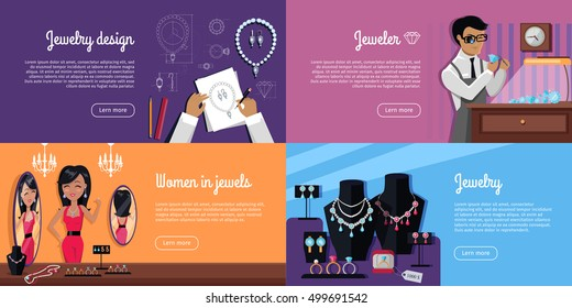 Jewelry design, jeweler, women in jewels and jewelry template poster. Jewelry banner concept design. Diamond and jewellery on model, necklace and jewels, ring fashion jewelry. Vector illustration
