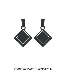 Jewelry  earrings of gems. Vector flat icon of luxury bijou ear pendants. Design element for jeweler shop - Vector