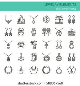 Jewelry Elements , Thin Line and Pixel Perfect Icons