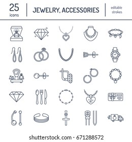 Jewelry flat line icons, jewellery store signs. Jewels accessories - gold engagement rings, gem earrings, silver chain, engraving necklaces, brilliants.