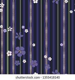 Jewelry and floral striped vector seamless pattern. Abstract white and purple flowers and gold strips with diamonds on black background. Template for design, wallpaper, wrapping, jewelry box.