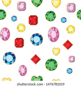 Jewelry gems seamless pattern, vector illustration, multicolored precious stones on white background