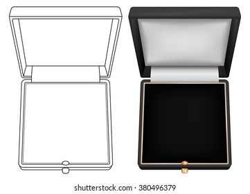 Jewelry gift box. Open black box. Vector illustration isolated on white background.