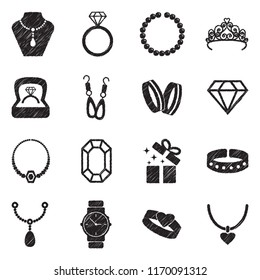 Jewelry Icons. Black Scribble Design. Vector Illustration.