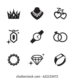 Jewelry icons set. Black on a white background