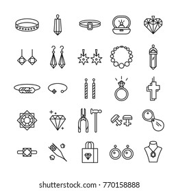 Jewelry icons. Jewelry shop symbols. Wedding ring, necklace, jeweler,