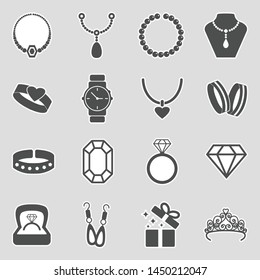 Jewelry Icons. Sticker Design. Vector Illustration.