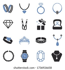 Jewelry Icons. Two Tone Flat Design. Vector Illustration.