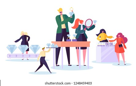 Jewelry industry concept. Jeweler seller with diamonds in store. Woman character buying luxury jewels in gemstone shop. Vector illustration