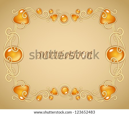 Ember Template | Jewelry Invitation Card Template Gold Ember Stock Vector Royalty