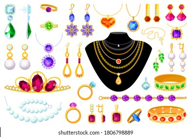 Jewelry item. Vector tiara, necklace, beads, ring, earrings, bracelet, brooch, chain and pendant illustration. Gold, diamond, pearl, gemstones precious accessorize set isolated on white background
