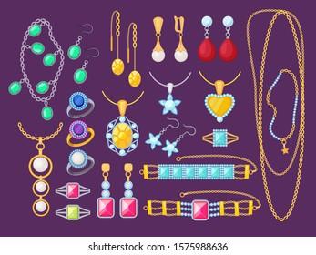 Jewelry items. Beauty woman accessories shop glamour diamonds golden bracelets gems precious pendants jewelry vector collection