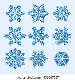 Jewelry light blue winter snowflakes from precious gems in different cuts and forms. Vector illustration