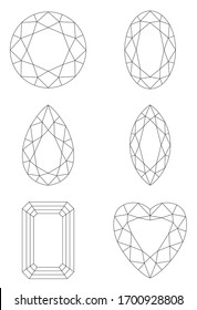 Jewelry line drawing illustration material