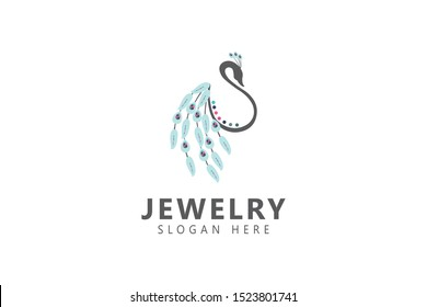 Jewelry logo, boutique logo. Peacock with shiny jewels on its feathers. A great logo for jewelry store, boutique, wedding planner, women clothing store, gifts shop, cosmetics, etc. Vector illustration