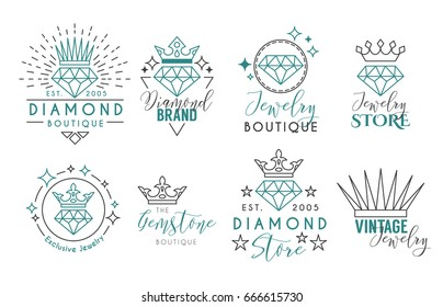 Jewelry Logo Set or Label Template for jewelry store, jeweler business card. Vector typography text design collection with line art diamond and crown