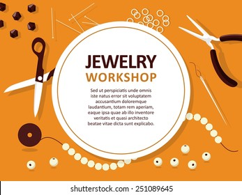 Jewelry making tools - vector template for cards, invitations, banners. You can place your text here