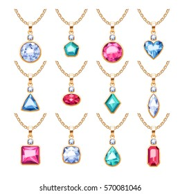 Jewelry pendants set. Golden chains with gemstones. Precious necklaces with diamonds pearls rubies. Vector illustration. Good for jewelry shop design.