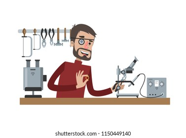 Jewelry production process. Male goldsmith with loupe on the eye making a luxury golden ring with gemstone. Isolated flat vector illustration