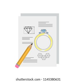 Jewelry project. Idea of golden ring with diamond. Making a luxury golden accessories with gemstone. Isolated flat vector illustration