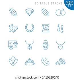 Jewelry related icons. Editable stroke. Thin vector icon set