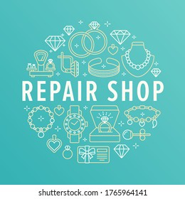 Jewelry repair shop, diamond accessories banner illustration. Vector line icon of jewels - gold engagement rings, gem earrings, silver necklaces, charms bracelets, brilliants.
