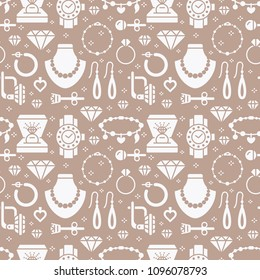 Jewelry seamless pattern, glyph illustration. Vector silhouette icons of jewels accessories - gold engagement rings, diamond, pearl necklaces, charms bracelet. Fashion repeated background.