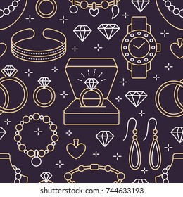 Jewelry seamless pattern, line illustration. Vector icons of jewels accessories - gold engagement rings, diamond, pearl necklaces, charms, watches. Fashion store repeated background.